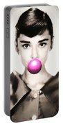 Audrey Hepburn Bubblegum Portable Battery Charger