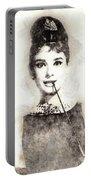 Audrey Hepburn Portrait 01 Portable Battery Charger