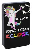 August 21 Solar Total Eclipse Funny Dabbing Unicorn Portable Battery Charger