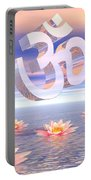 Aum - Om Upon Waterlilies - 3d Render Portable Battery Charger
