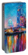Austin Art Impressionistic Skyline Painting #2 Portable Battery Charger
