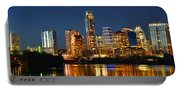 Austin Skyline At Night Color Panorama Texas Portable Battery Charger