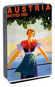 Austria, Young Woman In Traditional Dress Invites You, Danube River Portable Battery Charger