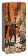 Autumn - People - A Walk In The Countryside Portable Battery Charger