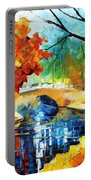 Autumn Calm 2 - Palette Knife Oil Painting On Canvas By Leonid Afremov Portable Battery Charger
