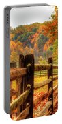 Autumn Fence Posts Scenic Portable Battery Charger