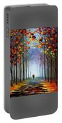 Autumn Fog 4 - Palette Knife Oil Painting On Canvas By Leonid Afremov Portable Battery Charger