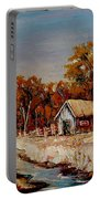 Autumn House By The Stream Portable Battery Charger