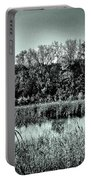 Autumn In The Wetlands - Black And White Portable Battery Charger
