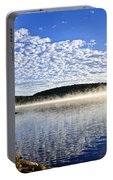 Autumn Lake Shore With Fog Portable Battery Charger