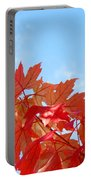 Autumn Landscape Fall Leaves Blue Sky White Clouds Baslee Portable Battery Charger