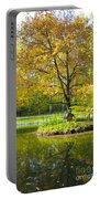 Autumn Landscape With Red Tree Portable Battery Charger