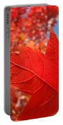 Autumn Leaves Fall Art Red Orange Leaves Blue Sky Baslee Troutman Portable Battery Charger
