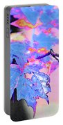 Autumn Leaves In Blue Portable Battery Charger