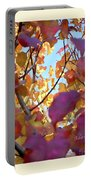 Autumn Leaves In Blue Sky Portable Battery Charger