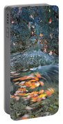 Autumn Leaves In Waterfall Portable Battery Charger
