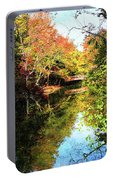 Autumn Park With Bridge Portable Battery Charger