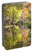 Autumn Reflection On Florida River Portable Battery Charger