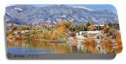 Autumn Snow At The Lake Portable Battery Charger
