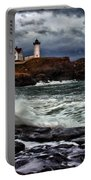 Autumn Storm At Cape Neddick Portable Battery Charger