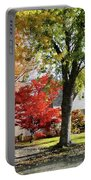 Autumn Street With Red Tree Portable Battery Charger