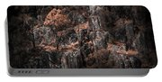 Autumn Trees Growing On Mountain Rocks Portable Battery Charger