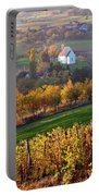 Autumn View Of Church On The Rural Hills Portable Battery Charger