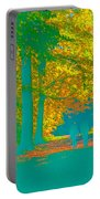 Autumn Woodland Walk Turquoise Portable Battery Charger