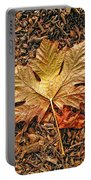 Autumn's Textured Maple Leaf Portable Battery Charger