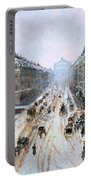 Avenue De L'opera - Effect Of Snow Portable Battery Charger by Camille Pissarro