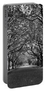 Avenue Of Trees Monochrome Portable Battery Charger