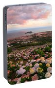 Azorean Town At Sunset Portable Battery Charger