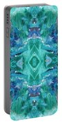Aztec Kaleidoscope - Pattern 001 - Ocean Portable Battery Charger