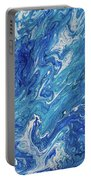 Azure Transfusions Of Ocean Waves Fragment  Portable Battery Charger