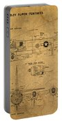 B29 Superfortress Military Plane World War Two Schematic Patent Drawing On Worn Distressed Canvas Portable Battery Charger