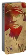 Babe Ruth Baseball Player New York Yankees Vintage Watercolor Portrait On Worn Canvas Portable Battery Charger