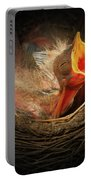 Baby Bird In The Nest With Mouth Open Portable Battery Charger