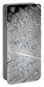 Baby Blue Dew Drops On Feather Portable Battery Charger
