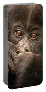 Baby Gorilla Close-up Hiding Mouth With Hands Portable Battery Charger