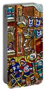 Backlane Snowy Winter Scene Hockey Game Verdun Alley Montreal Team Jerseys Canadian Art Portable Battery Charger