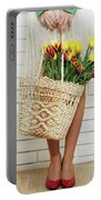 Bag With A Bouquet Of Tulips Portable Battery Charger
