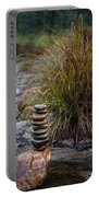 Balancing Zen Stones In Countryside River V Portable Battery Charger