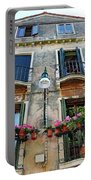 Balcony With Flowers In Venice, Italy Portable Battery Charger