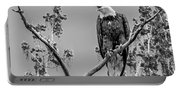 Bald Eagle Warning In Black And White Portable Battery Charger