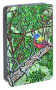 Bald Head Island, Painted Bunting At Defying Gravity Portable Battery Charger