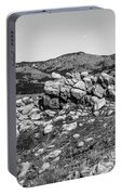 Bald Mountain Rock Formation In Black And White Portable Battery Charger