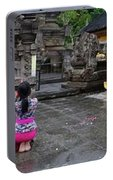 Bali Temple Women Bowing Panoramic Portable Battery Charger