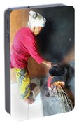 Balinese Lady Roasting Coffee Over The Fire Portable Battery Charger