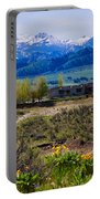 Balsamroot Flowers And North Cascade Mountains Portable Battery Charger by Omaste Witkowski