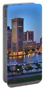 Baltimore Skyline Inner Harbor Panorama At Dusk Portable Battery Charger